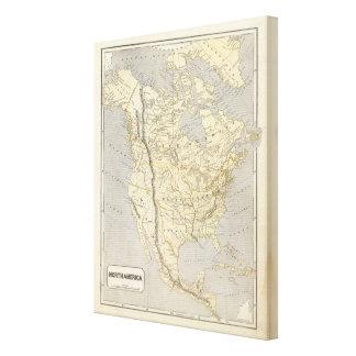 North America Atlas Map Canvas Print