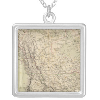 North America Atlas Map showing Indian tribes Silver Plated Necklace
