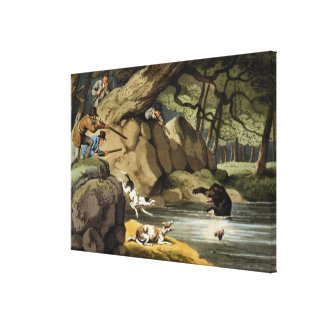 North America Bear Hunt, engraved by Matthew Dubou Stretched Canvas Print