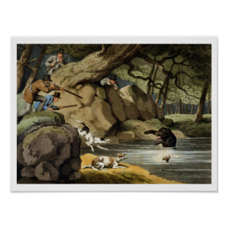 North America Bear Hunt, engraved by Matthew Dubou Poster