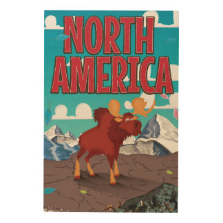 North america cartoon travel poster art. wood canvas