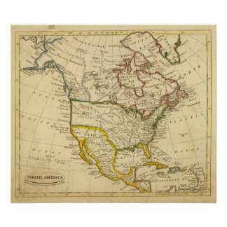 North America Engraved map Posters
