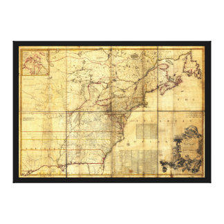 North America Map British & French Dominions 1757 Canvas Print