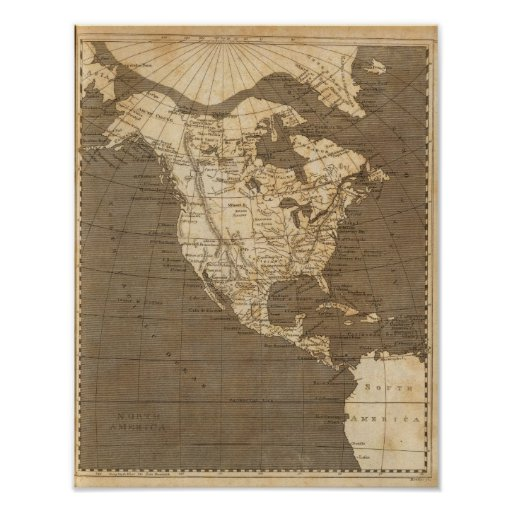 North America Map by Arrowsmith Posters