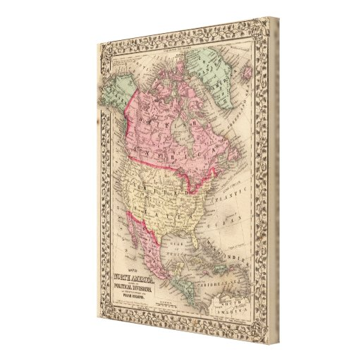 North America Map by Mitchell Gallery Wrapped Canvas