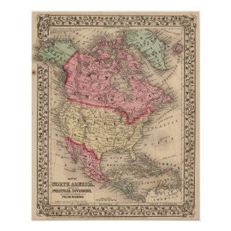 North America Map by Mitchell Poster