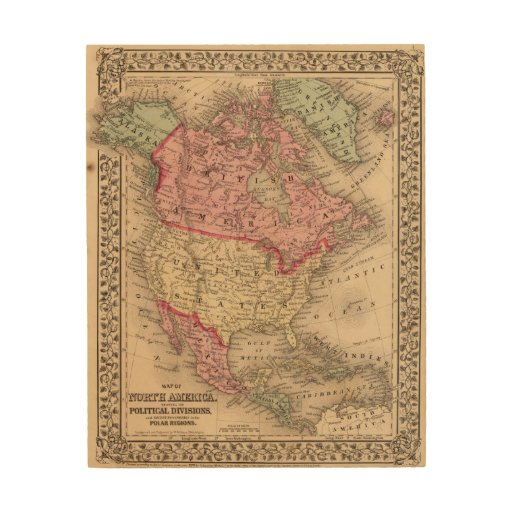 North America Map by Mitchell Wood Canvas