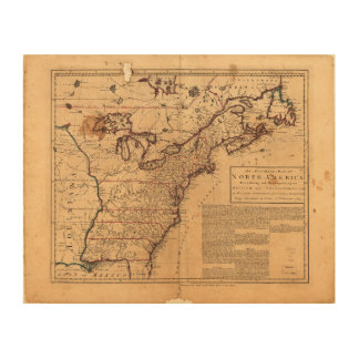 North America Map by Robert Sayer Feb 10th 1763 Wood Canvases