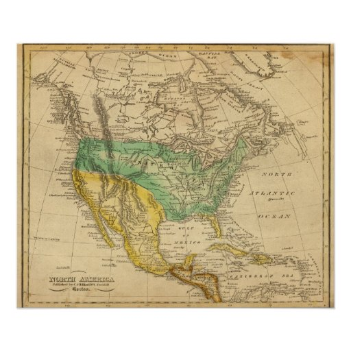 North America Map by Worcester Print