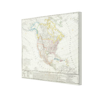 North America Map Stretched Canvas Print