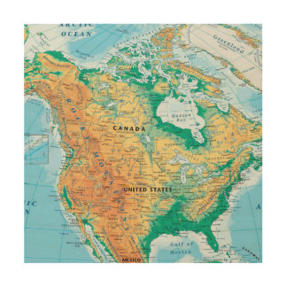 North America Map Wood Canvas