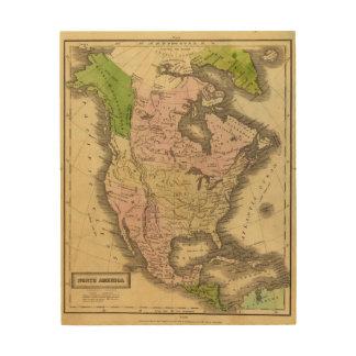 North America Olney Map Wood Canvas