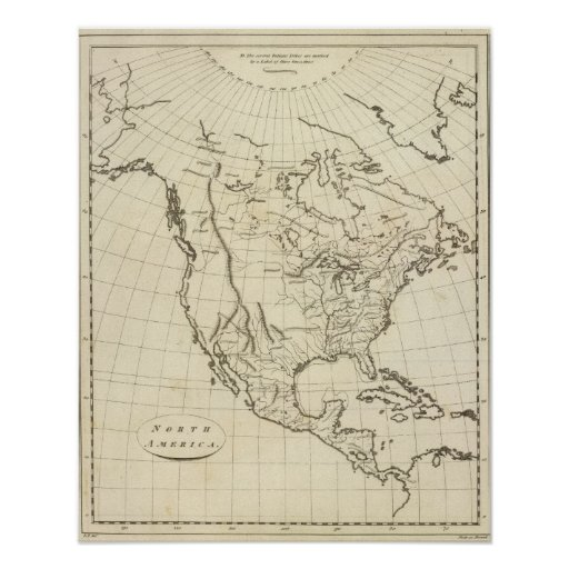 North America outline map Print