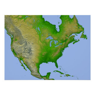 North America - Shaded Relief with Height as Color Poster