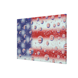 North America, USA, WA, Redmond, U.S. Flag Stretched Canvas Print