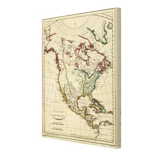 North America with boundaries outlined Stretched Canvas Prints