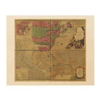 North American Map by Emanuel Bowen (1755) Wood Canvases