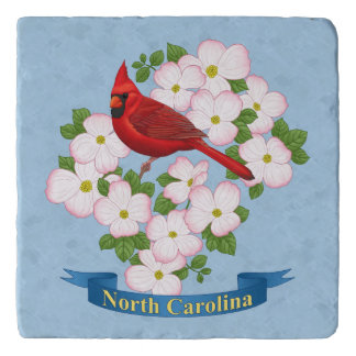 North Carolina State Cardinal Bird Dogwood Flower Trivet