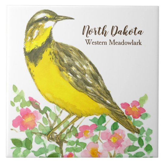 North Dakota Meadowlark Watercolor Roses Tile