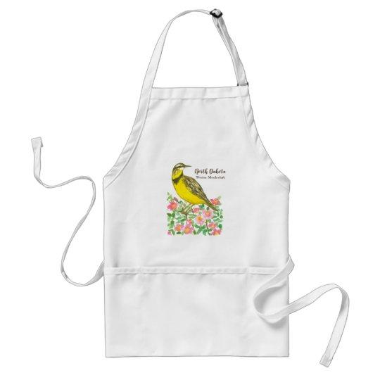 North Dakota State Bird Western Meadowlark Roses Standard Apron