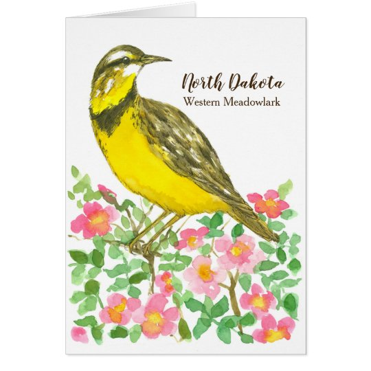 North Dakota Western Meadowlark Roses Blank Card