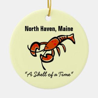 North Haven, Maine Lobster Round Ceramic Decoration