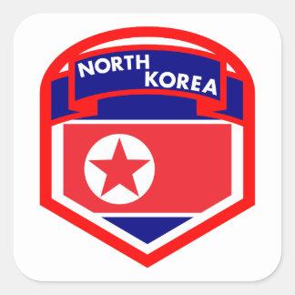 North Korea Flag Shield Square Sticker