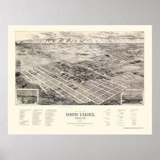 North Yakima, WA Panoramic Map - 1889 Poster