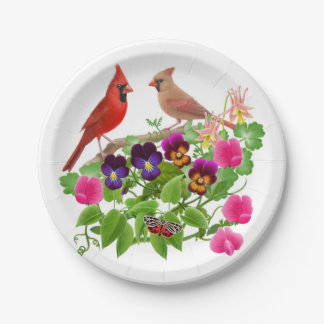 Northern Cardinal Birds in Garden Paper Plates 7 Inch Paper Plate