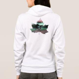 Northern lights maple leaf loon hoodie