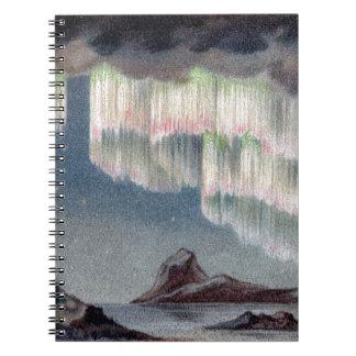 northern lights vintage Polar Lights Vintage old Spiral Notebook