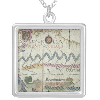 Northern South America, detail from world Silver Plated Necklace