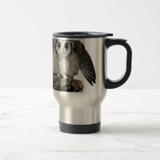 """""""Northern White-faced Owl"""" Stainless Steel Travel Mug"""