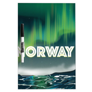 Norway Aurora Northern Lights Travel Poster Dry Erase Board