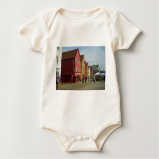 Norway, Bergen,painted houses on the waterfront Baby Bodysuit