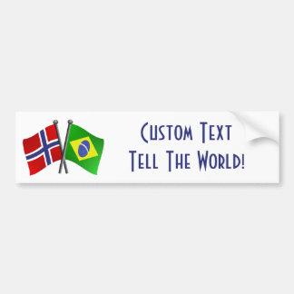 Norway Brazil Friendship Flags Bumper Sticker