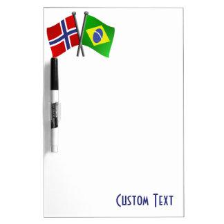 Norway Brazil Friendship Flags Dry Erase Board