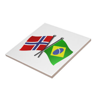 Norway Brazil Friendship Flags Tile