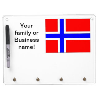 Norway Flag Dry Erase Board With Key Ring Holder