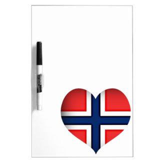 Norway Flag Heart Dry Erase Board