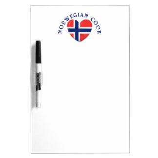 Norwegian Cook Heart Shaped Flag Dry Erase Board