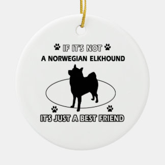Norwegian Elkhound dog breed designs Christmas Ornament