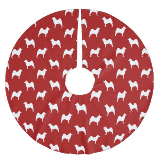 Norwegian Elkhound Silhouettes Pattern Red Brushed Polyester Tree Skirt