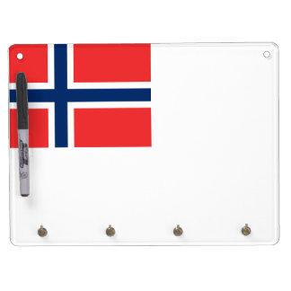 Norwegian Flag Dry Erase Board With Key Ring Holder
