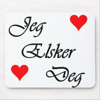"""Norwegian """"I love you"""" Norsk Jeg Elsker Deg Nordic Mouse Pad"""
