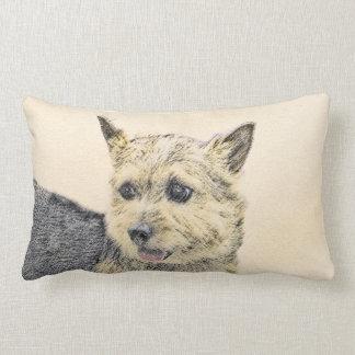 Norwich Terrier Painting - Cute Original Dog Art Lumbar Cushion