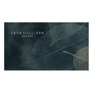 Notary Business Card Grunge Leaf Veins