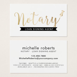 Notary Loan Signing Agent Elegant Gold Script Business Card