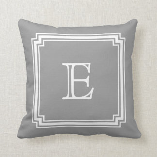 Notched Corner Frame Gray Background Monogram Throw Pillow