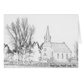 Note Card B&W  Rindal Church, Marshall County, MN